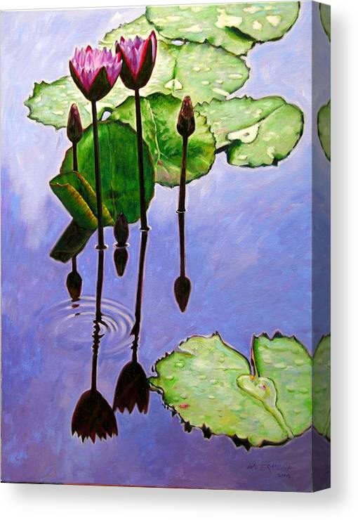 Rose Colored Water Lilies After A Morning Shower With Dark Reflections And Water Ripple. Canvas Print featuring the painting After The Shower by John Lautermilch