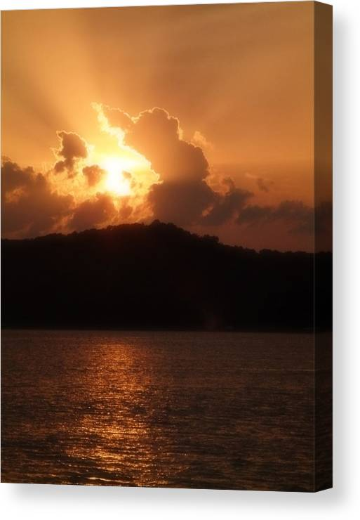 Sunset Canvas Print featuring the photograph Amber Sun by Carl Perry