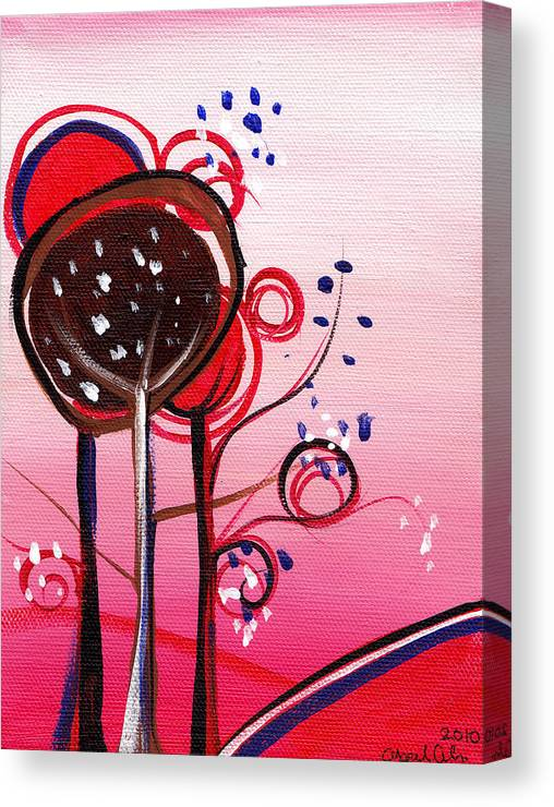 Tree Canvas Print featuring the painting And The Sky Is Pink by Abril Andrade Griffith