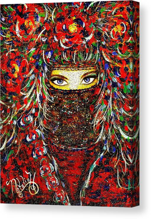 Woman Canvas Print featuring the painting Arabian Eyes by Natalie Holland