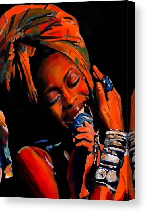 Record Produce Canvas Print featuring the painting Badu by Vel Verrept