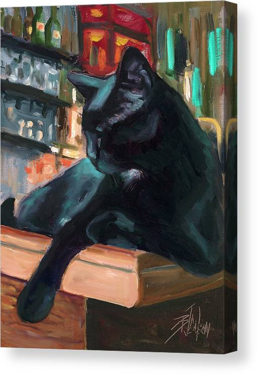 Black Cat Canvas Print featuring the painting Bar Cat by Billie Colson