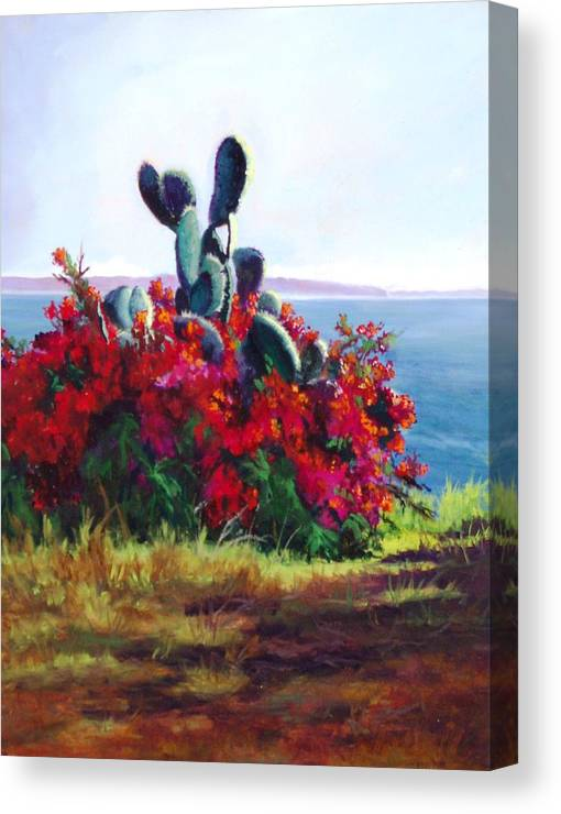 Flower Canvas Print featuring the painting Cactus And Bougainvillea by Dorothy Nalls