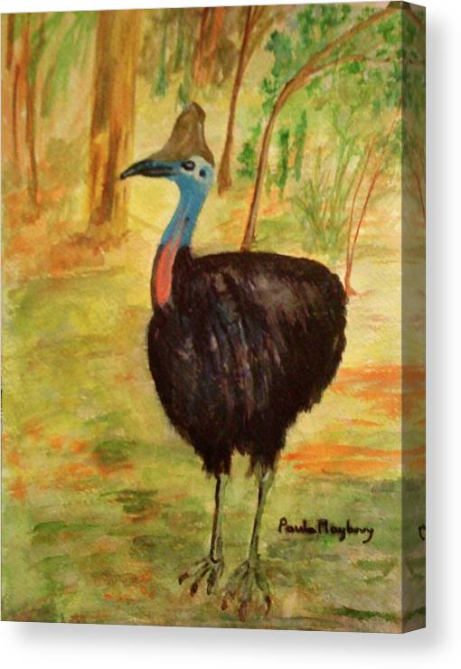 Large Bird Canvas Print featuring the painting Cassowary Bird by Paula Maybery