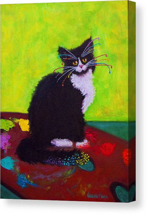 Cat Canvas Print featuring the painting Ching - The Studio Cat by Valerie Aune