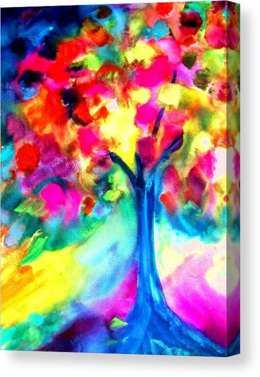 Landscape Canvas Print featuring the painting Colorful Tree by Maritza Bermudez