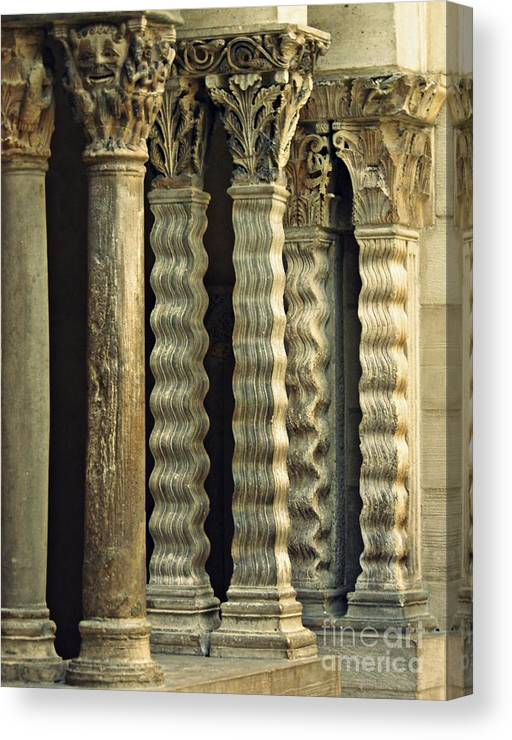 Building Canvas Print featuring the photograph Columns At The Cloisters 3   by Sarah Loft