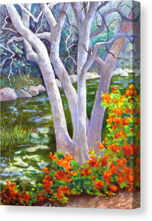Tree Canvas Print featuring the painting Creekside by Dorothy Nalls