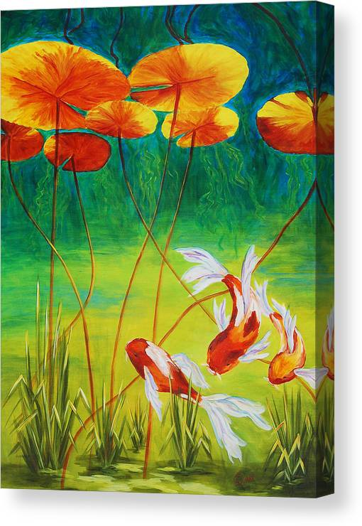 Koi Canvas Print featuring the painting Day Dreamin by Karen Dukes