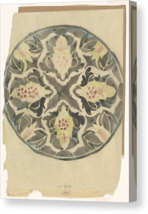 Pattern Canvas Print featuring the painting Design For A Plate With Floral Decoration, Carel Adolph Lion Cachet, 1874 - 1945 by Carel Adolph Lion Cachet