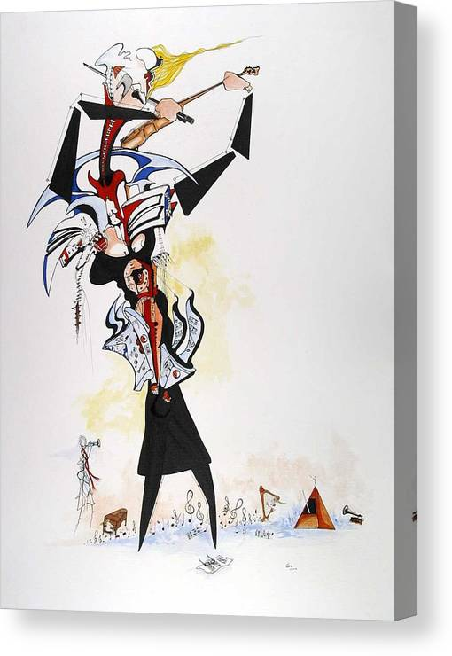 Music Canvas Print featuring the drawing Essence Of Vanessa by Daniel Culver