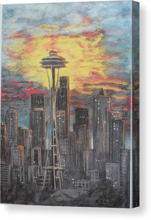Sunset Cloudy Sky Canvas Print featuring the painting Eye On The Needle by Dan Bozich