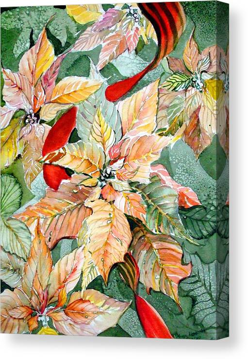 Flora Canvas Print featuring the painting A Peachy Poinsettia by Mindy Newman