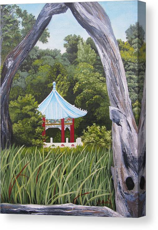 Landscape Canvas Print featuring the painting Garden By The Bay by Lisa Barr