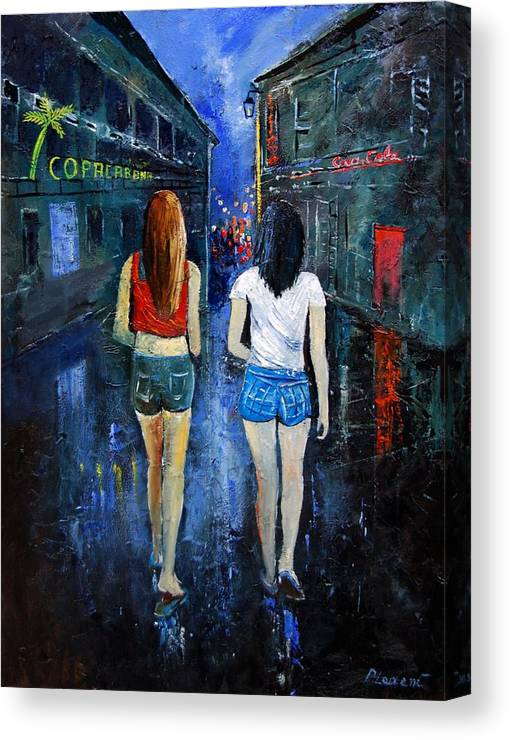 Girl Canvas Print featuring the painting Going Out Tonight by Pol Ledent