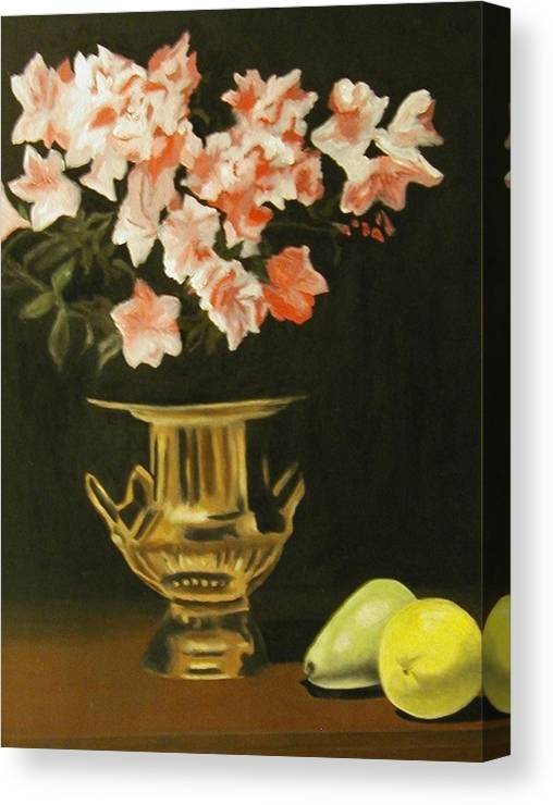 Still Life Canvas Print featuring the painting Gold Vase With Fruit by Angelo Thomas