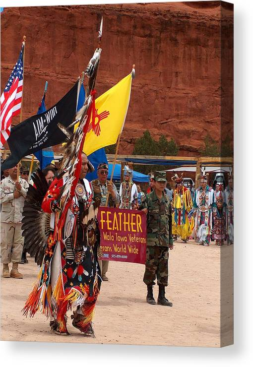 Pow-wow Canvas Print featuring the photograph Grand Entry At Star Feather Pow-wow by Tim McCarthy