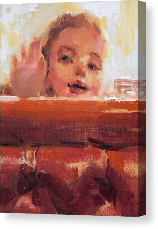 Child Canvas Print featuring the painting Hi There by Merle Keller