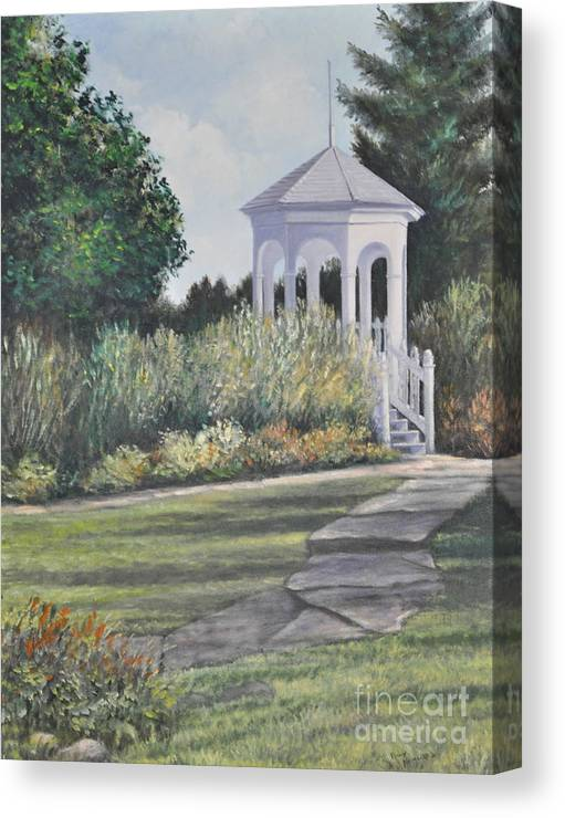 Laurel Arts Gazebo Canvas Print featuring the painting Invitation At Laurel Arts by Penny Neimiller
