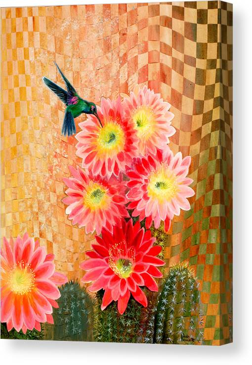 Hummingbird Canvas Print featuring the painting Irresistible by Linda L Doucette