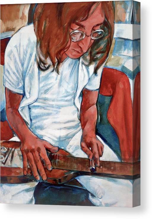 John Lennon Portrait Beatles Music Musician Rock Canvas Print featuring the painting John by Scott Waters