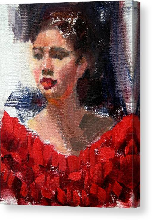 Portrait Canvas Print featuring the painting Lady In Red by Merle Keller