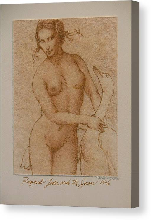 Classic Nude Canvas Print featuring the painting Lida And The Swan After Raphael by Gary Kaemmer