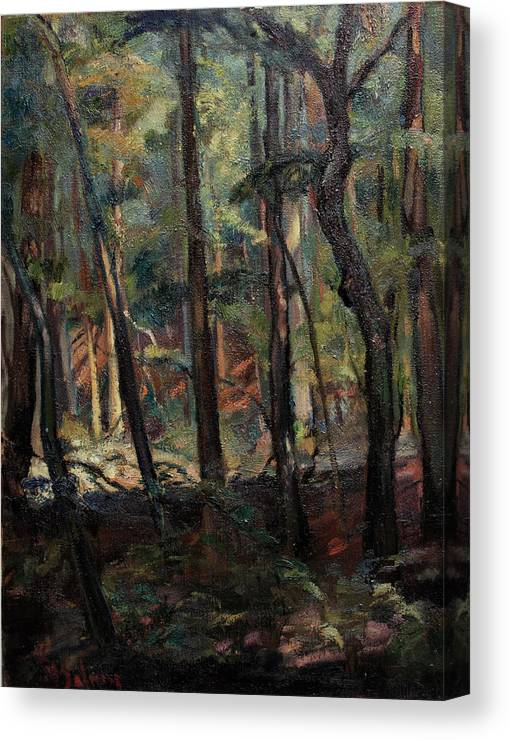 Oil Painting Canvas Print featuring the painting Light Dancing With Trees by Maris Salmins