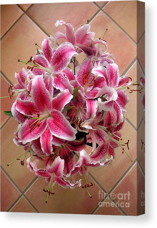 Nature Canvas Print featuring the photograph Lilies Gathered On Tile by Lucyna A M Green