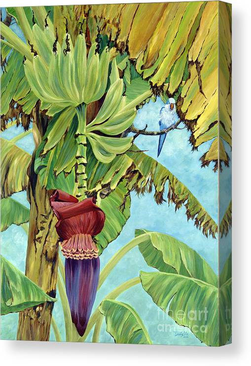 Tropical Canvas Print featuring the painting Little Blue Quaker by Danielle Perry