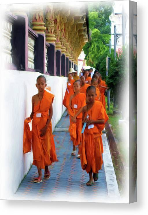 Children Canvas Print featuring the painting Little Novice Monks 2 by Bates Clark