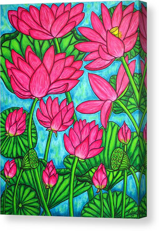 Canvas Print featuring the painting Lotus Bliss by Lisa Lorenz