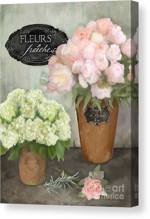 French Flower Market Canvas Print featuring the painting Marche Aux Fleurs 2 - Peonies N Hydrangeas by Audrey Jeanne Roberts