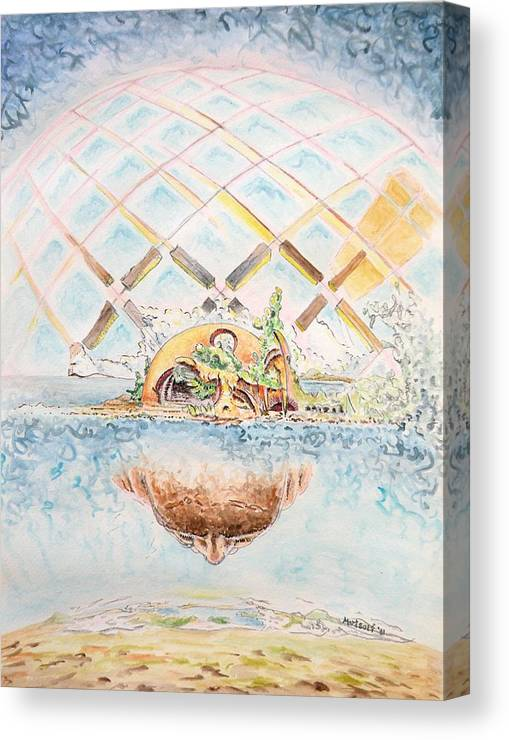 Watercolor Canvas Print featuring the painting Meme Brain by Dave Martsolf
