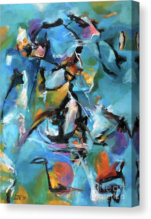 Abstract Expressionist Canvas Print featuring the painting Moon Sail by Ric Castro