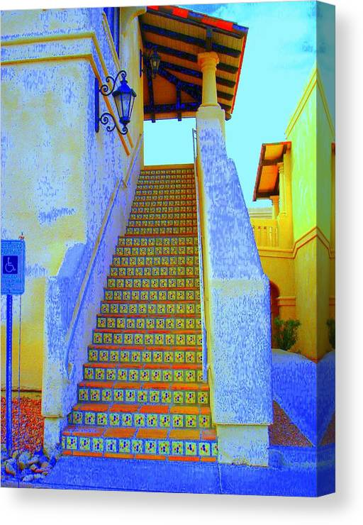 Stairway Canvas Print featuring the photograph Moroccan Staircase by Lessandra Grimley