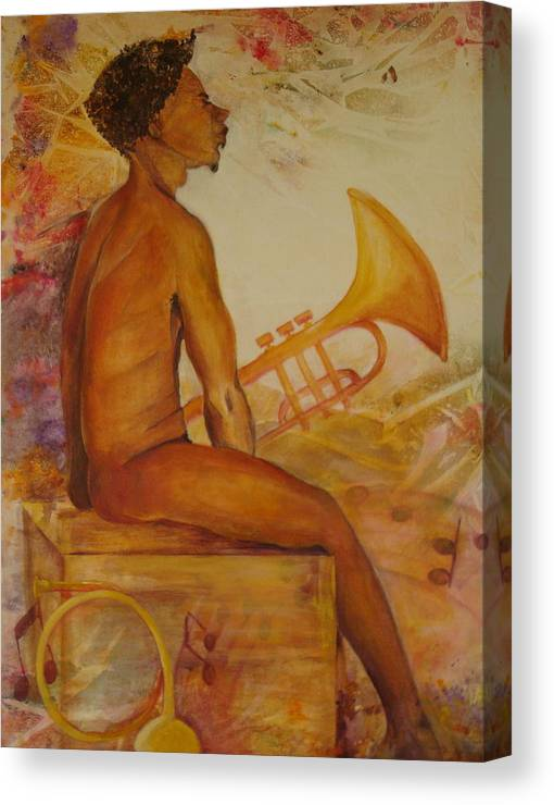 Painting Of An Attractive Black Man Seated With His Horn. Whimsical Background. Hues Of Golds Canvas Print featuring the painting Music Man by Georgia Annwell