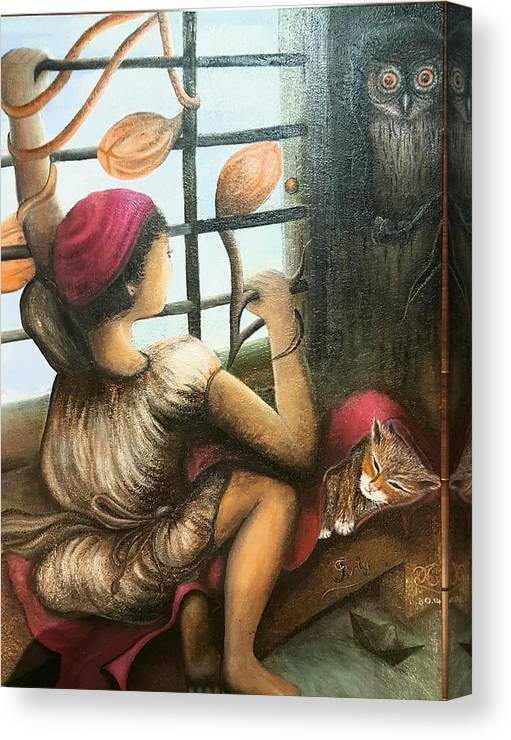 Music Sheet Canvas Print featuring the painting Mute Notes by Tracy Truong