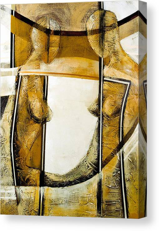 Figurative Abstract Canvas Print featuring the painting My Mirror 2 by Milda Aleknaite