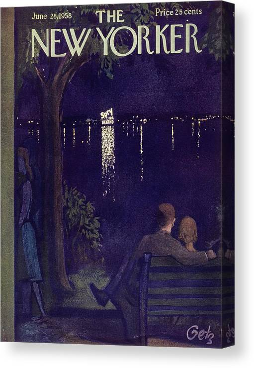 Couple Canvas Print featuring the painting New Yorker June 28 1958 by Arthur Getz