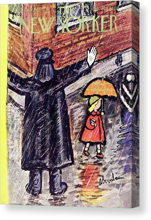 Crossing Guard Canvas Print featuring the painting New Yorker October 10 1953 by Abe Birnbaum