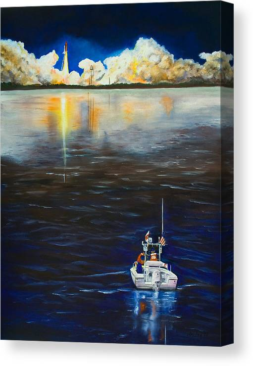 Coast Guard Canvas Print featuring the painting Night Launch by Dorothy Riley