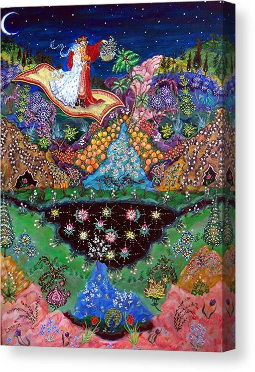 Night Canvas Print featuring the painting Night On The Magic Carpet by Caroline Eve Urbania