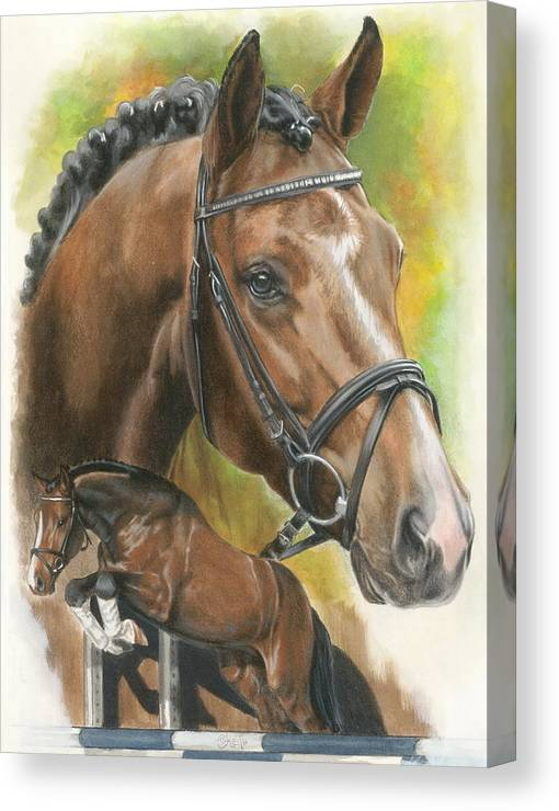 Hunter Jumper Canvas Print featuring the mixed media Oldenberg by Barbara Keith