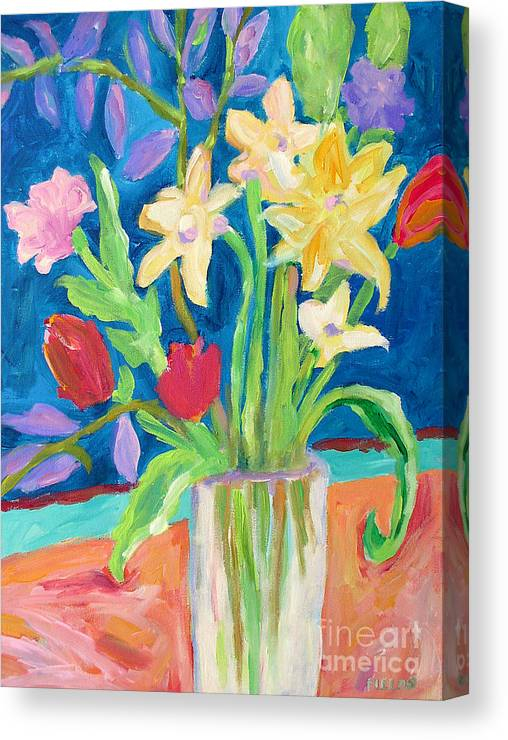 Still Life Canvas Print featuring the painting Peach Tablecloth by Karen Fields