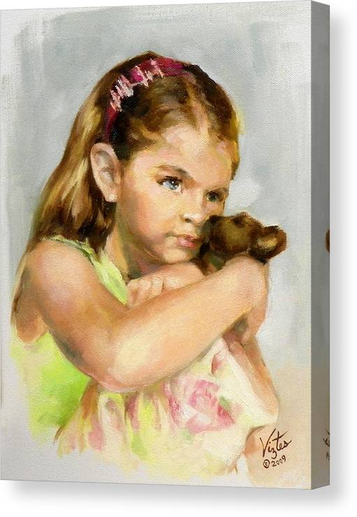 Liz Viztes Canvas Print featuring the painting Portrait Of A Young Girl With Toy Bear by Liz Viztes