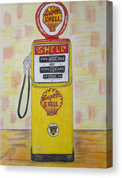 Super Shell Canvas Print featuring the painting Shell Gas Pump by Kathy Marrs Chandler