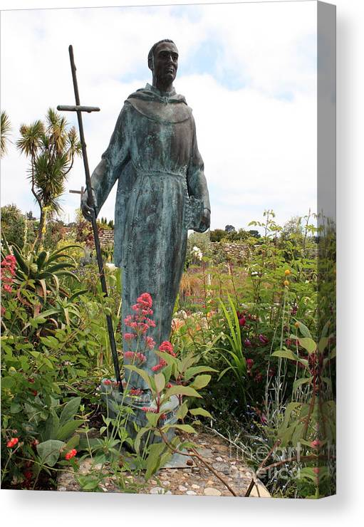 Father Serra Canvas Print featuring the photograph Statue Of Father Serra At Carmel Mission by Carol Groenen