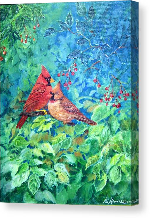 Cardinals;birds;berries; Canvas Print featuring the painting Sweet Contentment by Lois Mountz