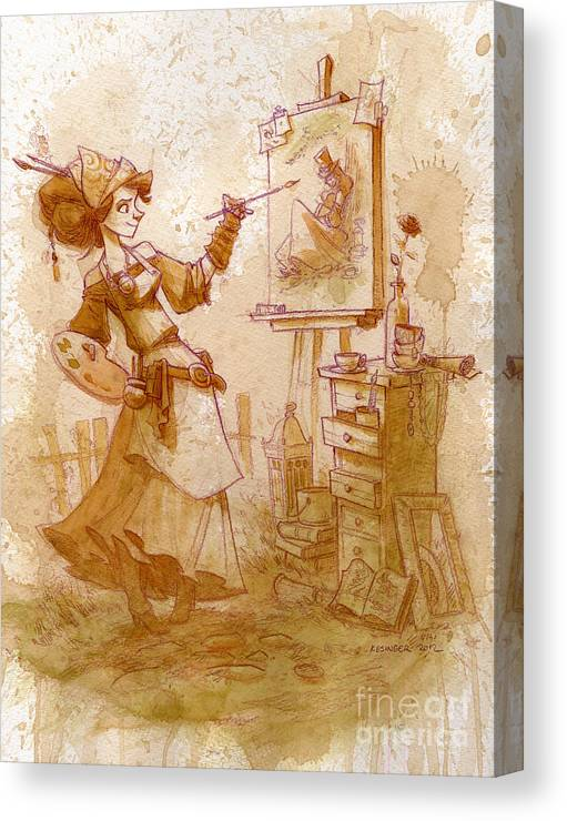 Steampunk Canvas Print featuring the painting The Artist by Brian Kesinger